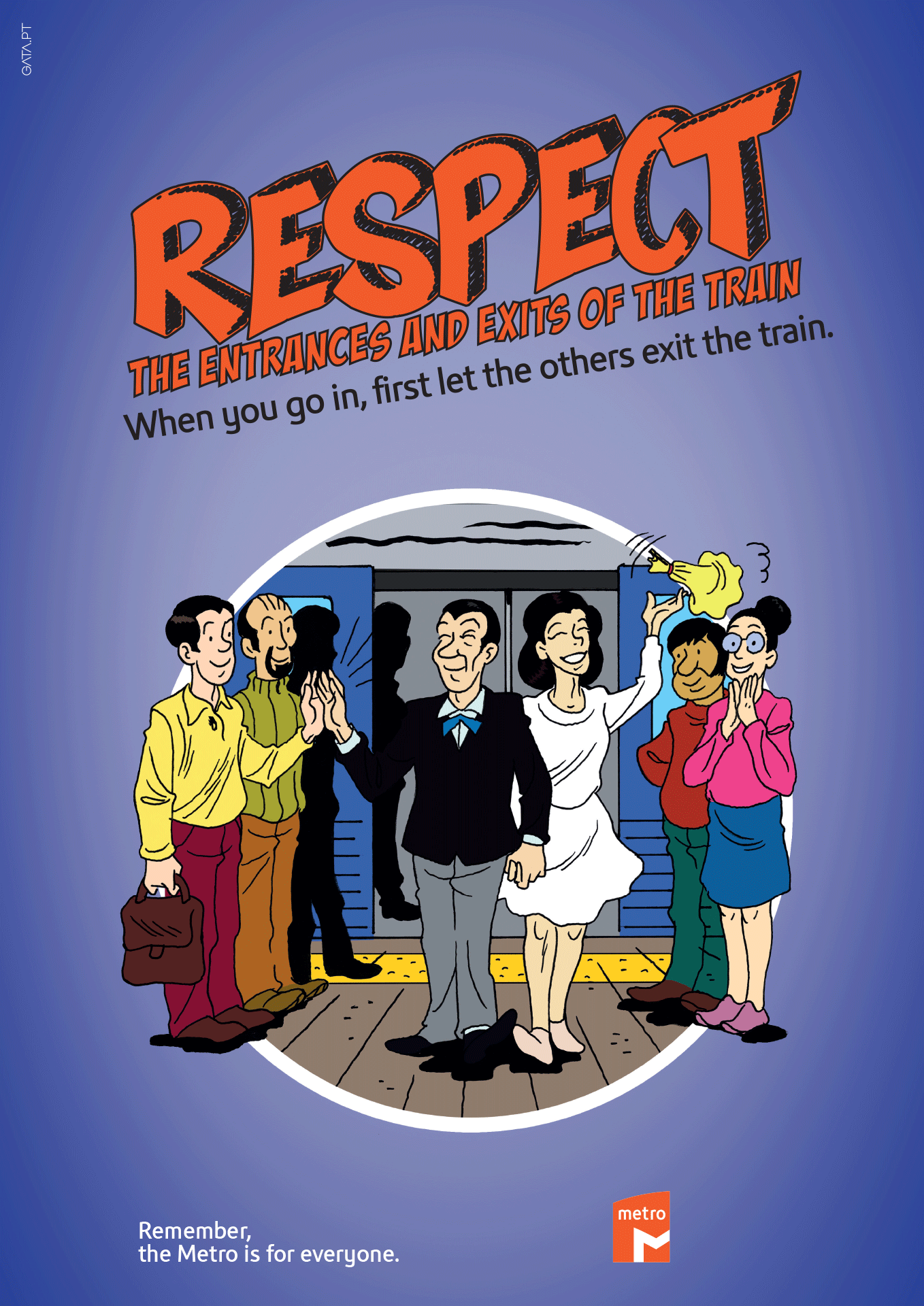"Poster for the ""Remember, the Metro is for everyone"" campaign with a cartoon image of getting in and out of the train, with the following message ""When you get on, first let the others off the train."""